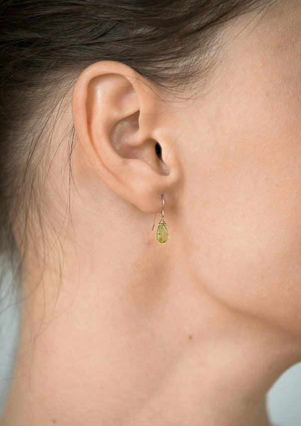 Peridot Simple Drop Earrings