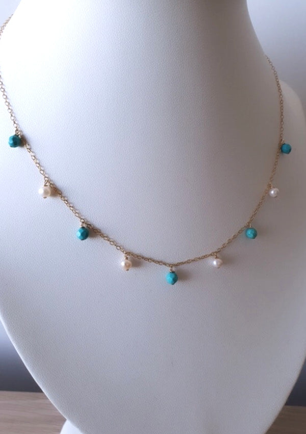 Turquoise Pearl Bohemian Necklace