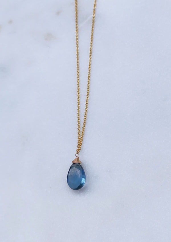 siberian blue quartz raw Necklace