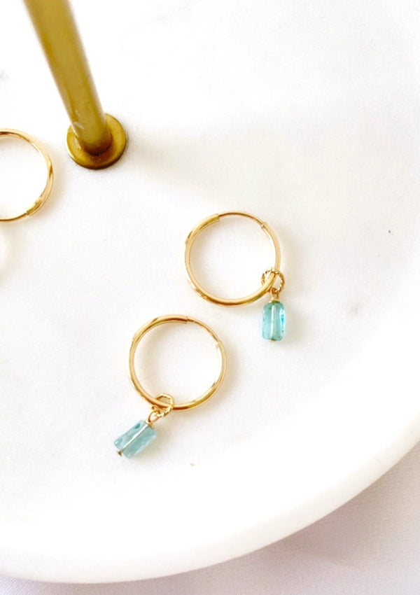 Blue Apatite Mini Infinity Hoops