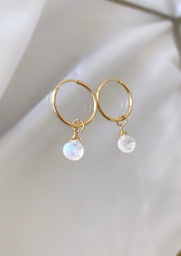 Moonstone Mini Infinity Hoops