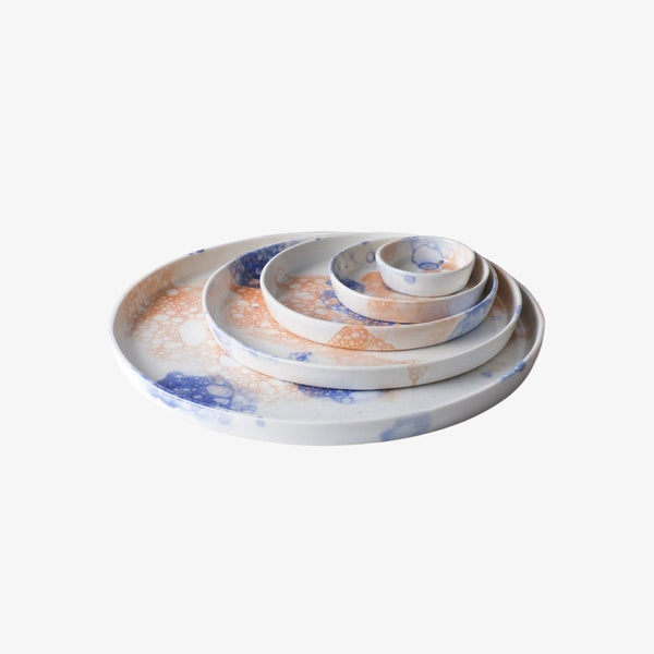 Bubble Plate | Blue and Orange Plate R L Foote Design Studio