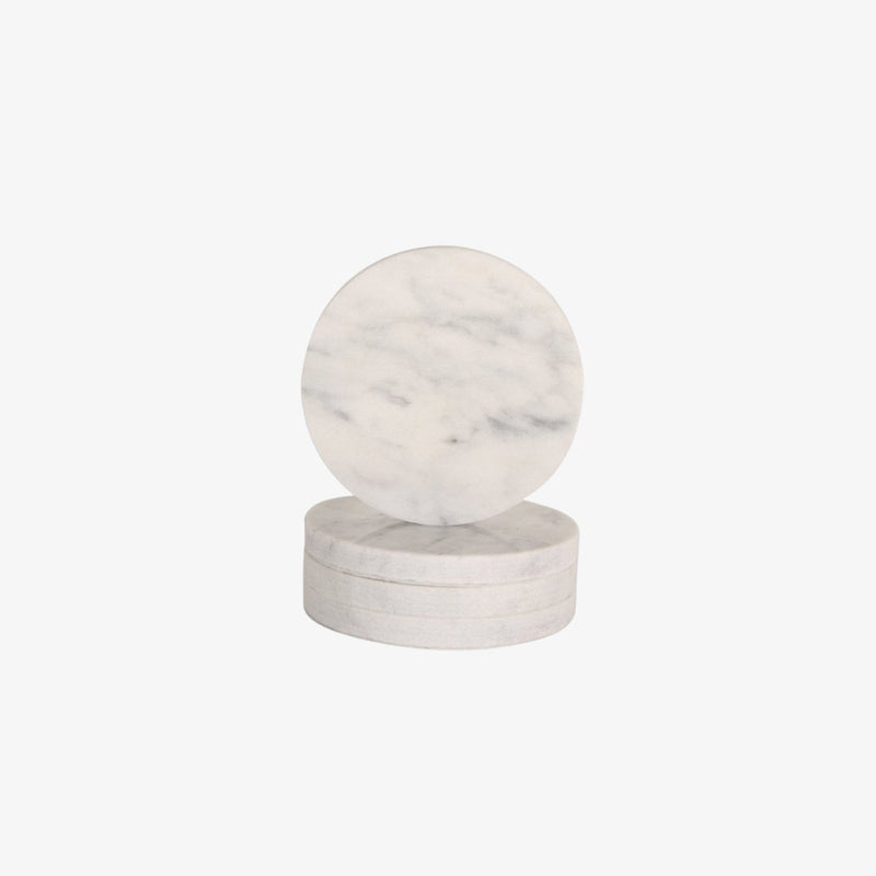 Circle Marble Coasters | White | Set Of 4 Coaster Behr & Co