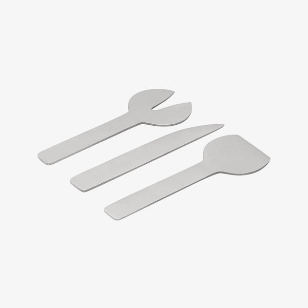 Geo 3-Piece Cheese Set | Brushed Nickel Cheese Knives Behr & Co