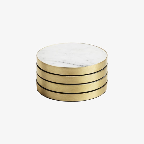 Geo Coasters | Brass & Carrara | Set Of 4 Coaster Behr & Co