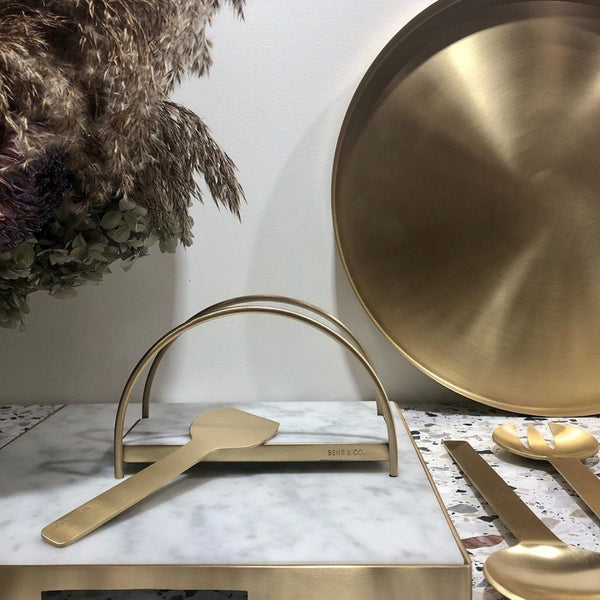 Geo Napkin Holder | Brass & Carrara Napkin Holder Behr & Co