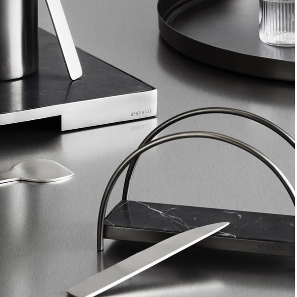 Geo Napkin Holder | Brushed Nickel & Nero Napkin Holder Behr & Co