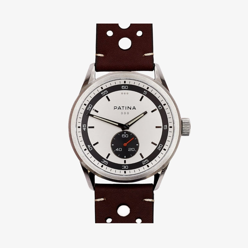 The Rambler | White and Brown Racing Watches Patina Watch Company