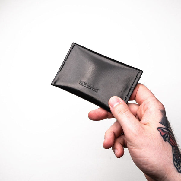 The Wanderer | Black Glazed and Black Thread Snap wallet Dear Dagger
