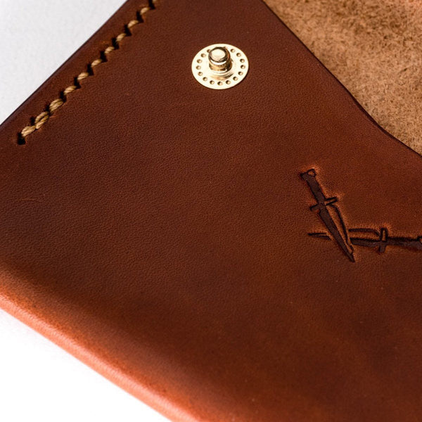 The Wanderer | Buck Brown Glazed and Gold Thread Snap wallet Dear Dagger