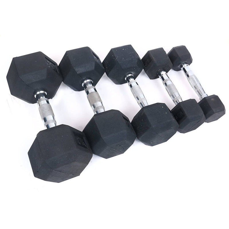 KD Cougar Fitness Dumbell Barbell Hex Rubber Coated Gym Weight Chrome Plated Handle Single 1Kg to 50 Kg