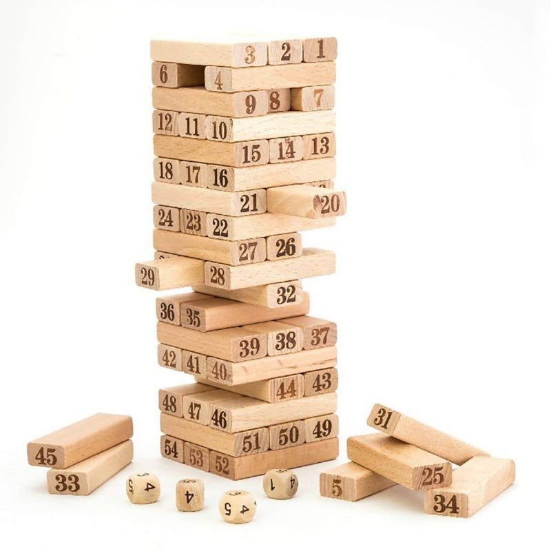 Wooden Zenga 54 Pcs Tiles fro Kids with Alphabets & Numbers