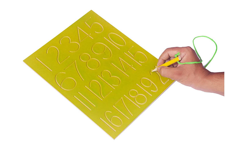Wooden Tray for Practice Writing Numbers for Kids with Pencil