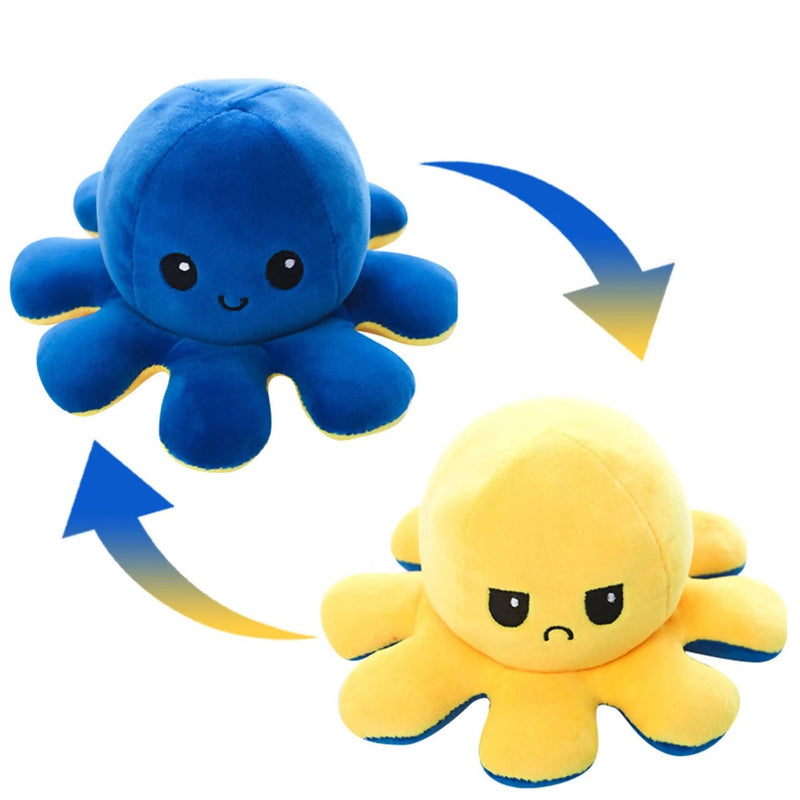 Blue and yellow reversible octopus plush toy