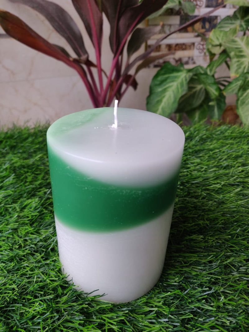 Angled Layered Green Candle