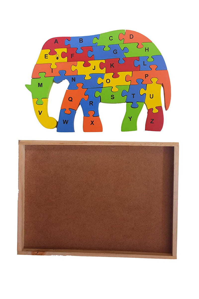 Wooden Block Puzzle Set of Elephant Shape in Colorful patterns