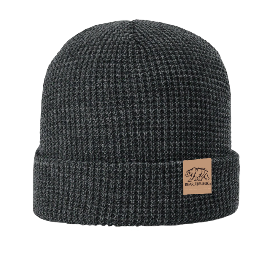 Charcoal Beanie with Leather Clip