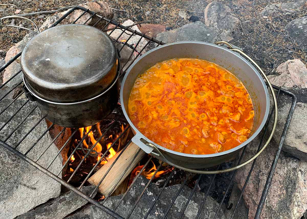 soup cooking over a fire
