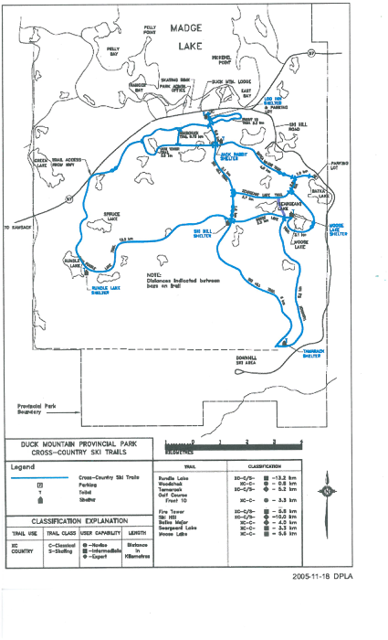 Map of Duck Mountain Ski Trails