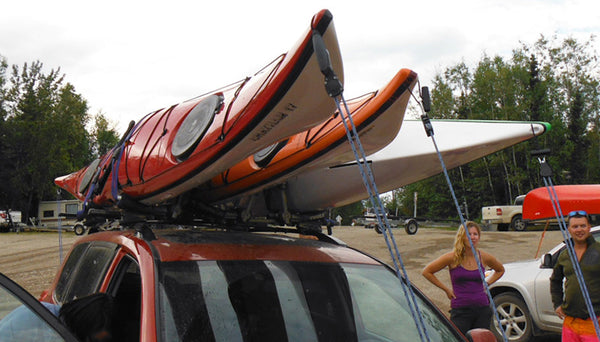 kayak j cradles loaded on cartop
