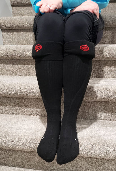 Alison wearing Lenz heated socks