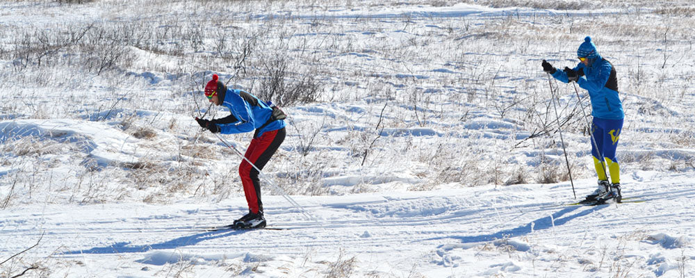 Cross country skiers double poling