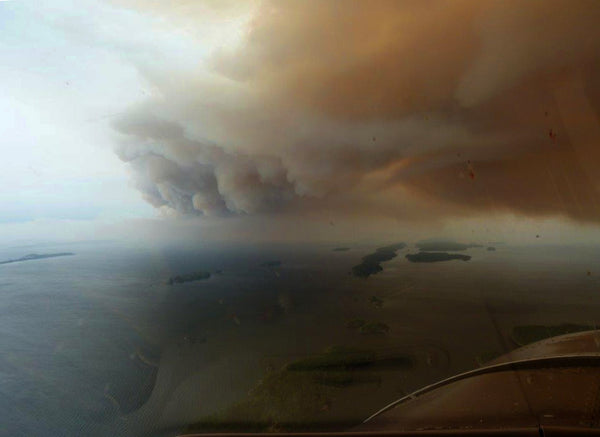 forest fire smoke over Lac La Ronge Saskatchewan