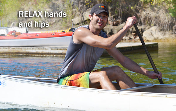 relax hands and hips paddling technique