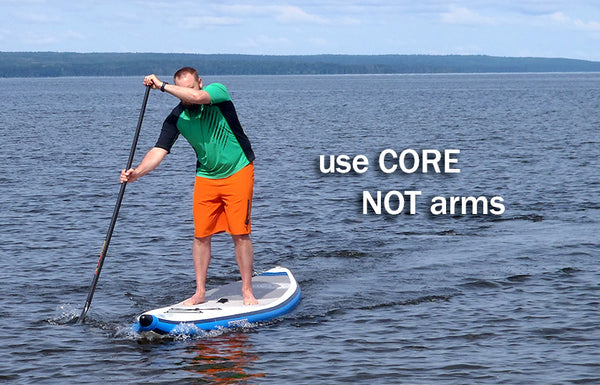 use core not arms paddle technique