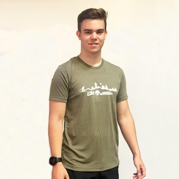 man wearing olive Eb's t-shirt