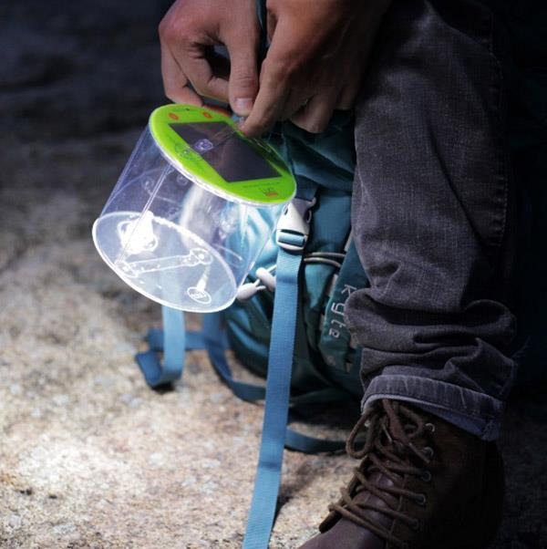 Luci Outdoor 2.0 inflatable light attached to pack