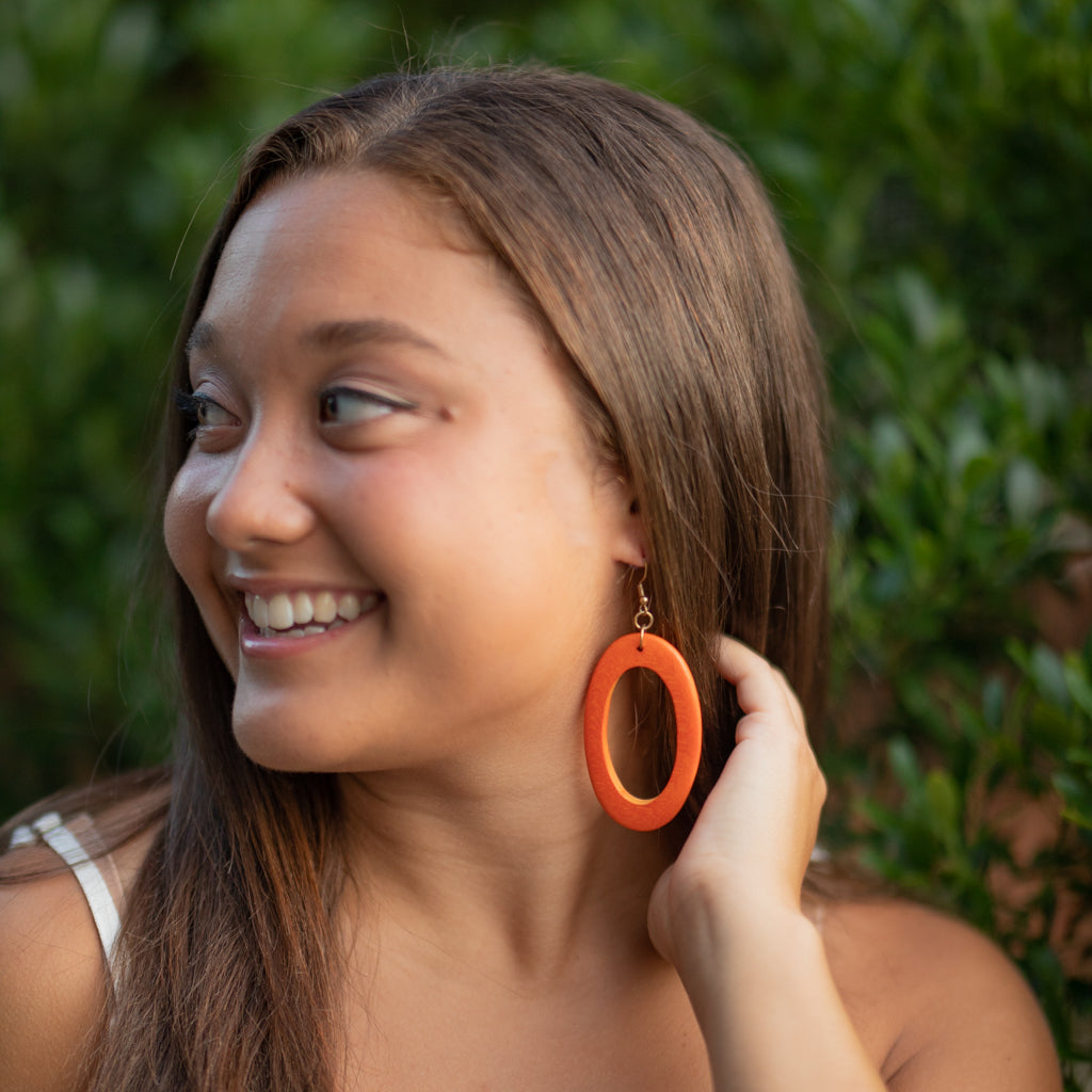 Large Wooden Oval Earrings
