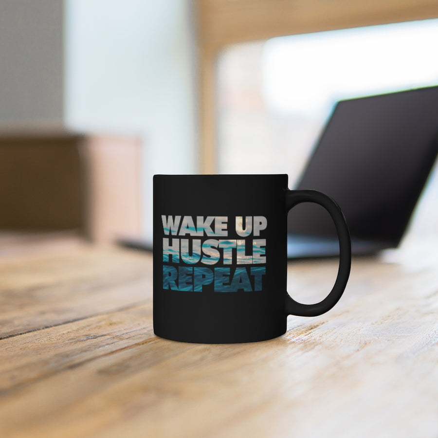 Wake Up, Hustle, Repeat Black Mug 11oz
