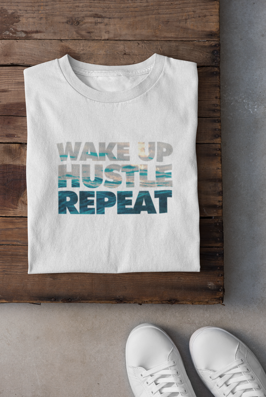 Wake Up, Hustle, Repeat Cotton Crew Tee