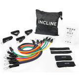 Resistance Bands (11 or 17pcs) 5 or 7 Stackable Exercise Bands Ranging From 2 to 50 lbs of Resistance; Includes Zip-up Bag, Foam Handles, Ankle Straps, Door Anchors & Workout Book