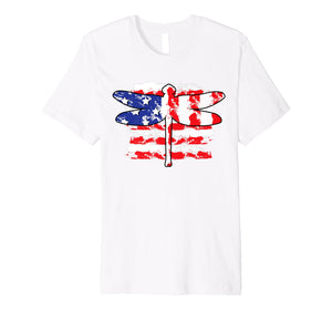 4th Of July Patriotic Dragonfly With Us American Flag Premium T-Shirt
