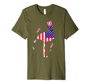 4th of July Shirts for Men Funny Flamingo Uncle Sam Hat Tee Premium T-Shirt