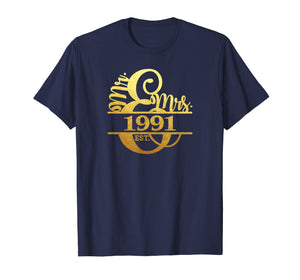 28th Anniversary T-Shirt Married Since 1991 Mr. & Mrs.