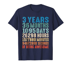 3 Years Old 3rd Birthday Vintage Retro T Shirt 36 Months