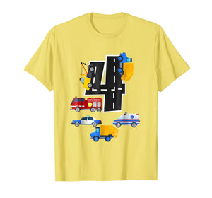 4th Birthday Boys Fire Truck Police Car T-Shirt 4 Year Old