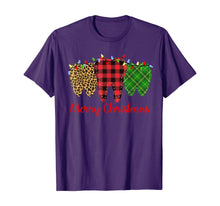 Load image into Gallery viewer, 3 Three Teeth Merry Christmas Leopard Buffalo Plaid Pattern T-Shirt