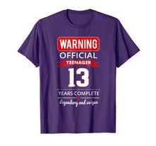Load image into Gallery viewer, 13th Birthday T Shirt Cool And Funny For Girls And Boys