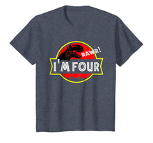 Load image into Gallery viewer, 4th birthday Dinosaur T-rex Shirt 4 year old Birthday Party