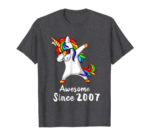 11 Years Old 11th Birthday Unicorn Dabbing Shirt 2007 Gift