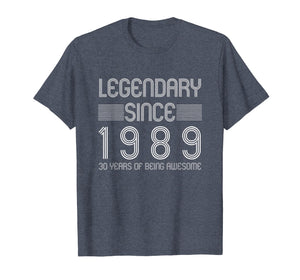 30th Birthday T Shirt - 30 Years Of Being Awesome Since 1989