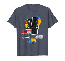 Load image into Gallery viewer, 4th Birthday Boys Fire Truck Police Car T-Shirt 4 Year Old
