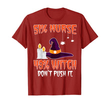 Load image into Gallery viewer, 51% Nurse 49% Witch Womens Mens Halloween Nurses T-Shirt T-Shirt