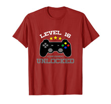 Load image into Gallery viewer, 16th Birthday Gift T Shirt - Level 16 Achievement Unlocked