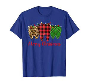 3 Three Teeth Merry Christmas Leopard Buffalo Plaid Pattern T-Shirt