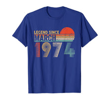 Load image into Gallery viewer, 46th Birthday Gift 46 Years Old Legend Since March 1974 T-Shirt
